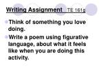 writing assignment te 161g
