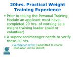 20hrs practical weight training experience