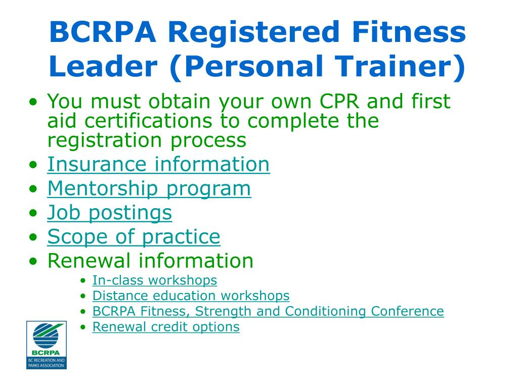 BCRPA Registered Fitness Leader (Personal Trainer)