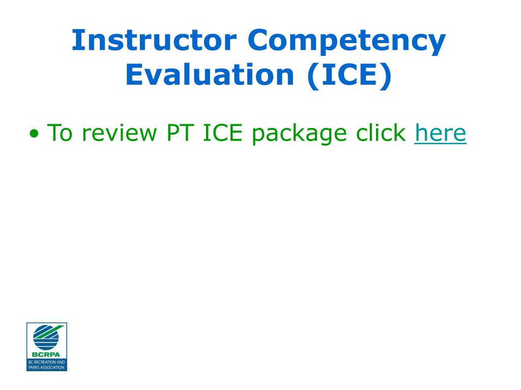 Instructor Competency Evaluation (ICE)