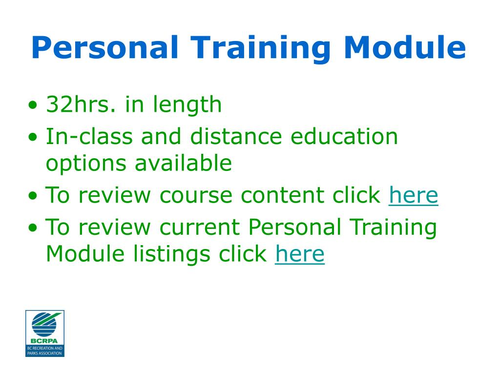 Personal Training Module