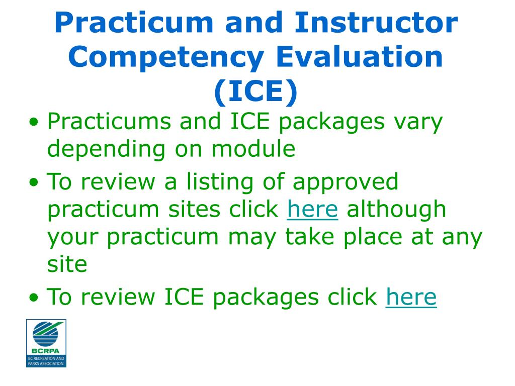 Practicum and Instructor Competency Evaluation (ICE)