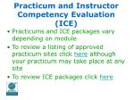practicum and instructor competency evaluation ice