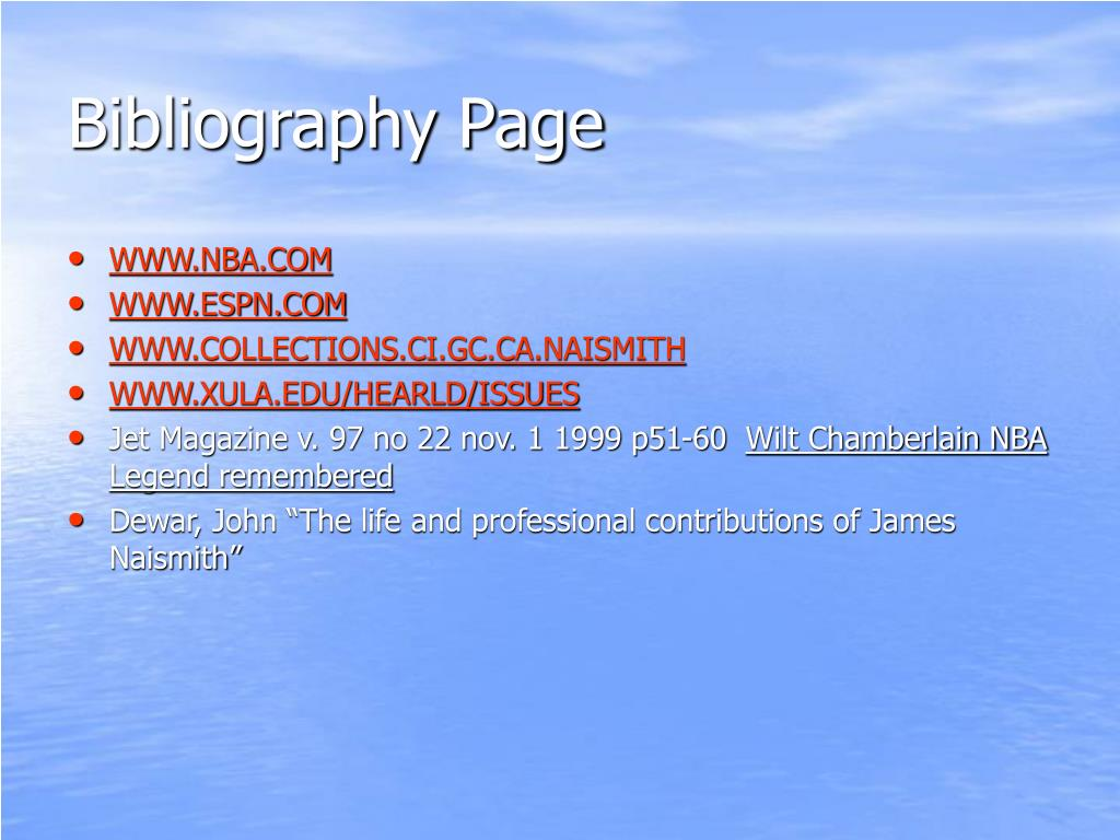 Bibliography Page