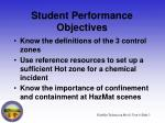 student performance objectives