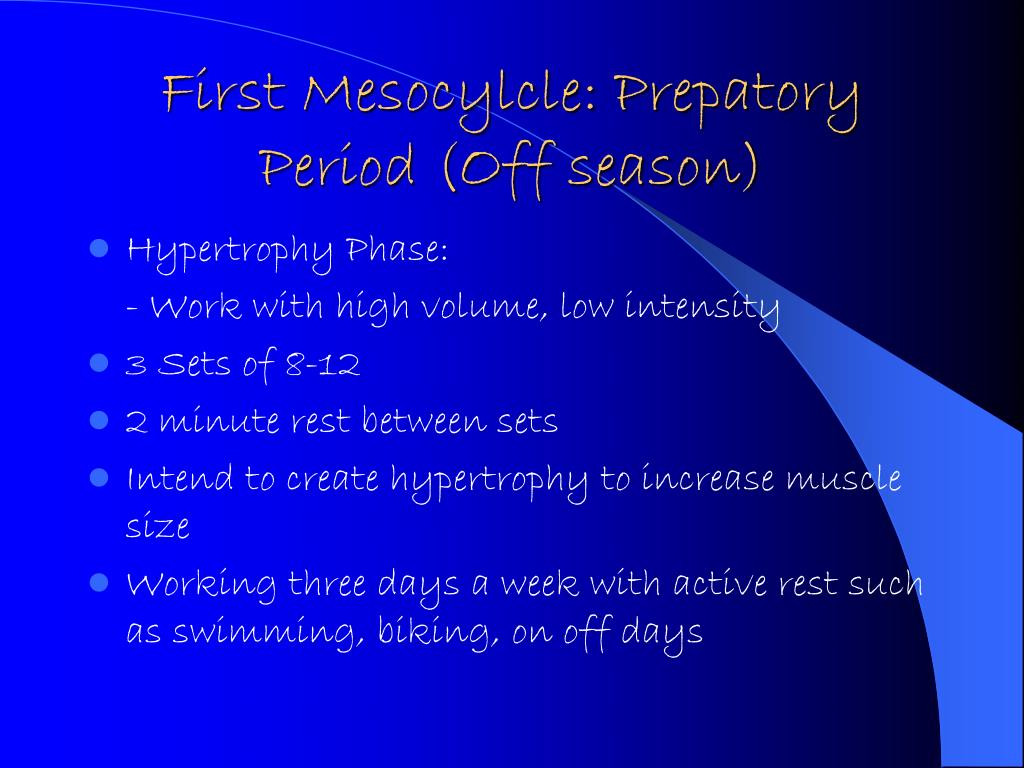 First Mesocylcle: Prepatory Period (Off season)