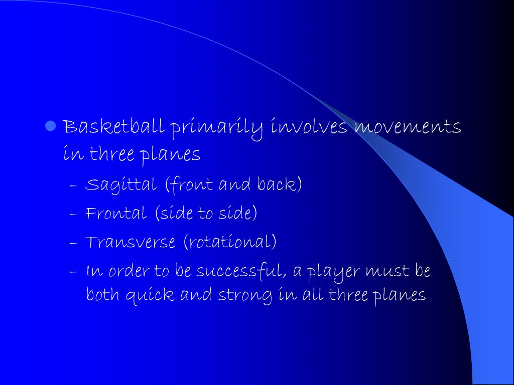 Basketball primarily involves movements in three planes