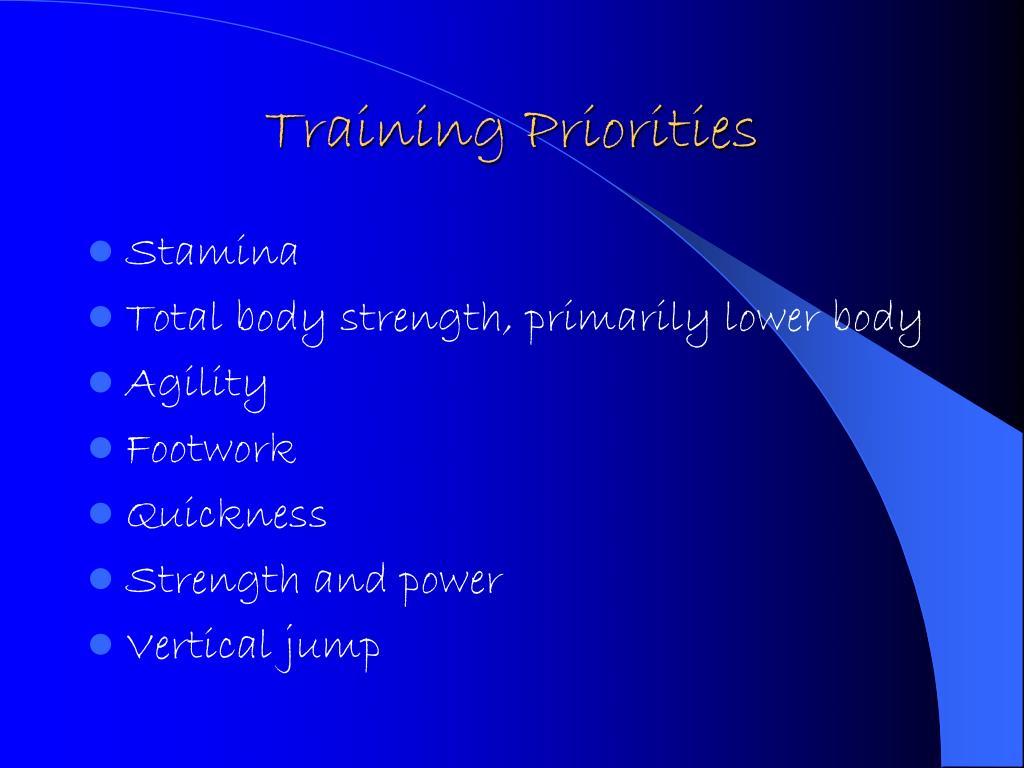 Training Priorities