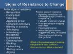 signs of resistance to change