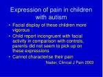 expression of pain in children with autism
