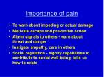 importance of pain