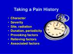 taking a pain history