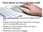 facts about car loans for bad credit