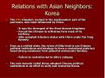 relations with asian neighbors korea77