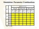 simulation parameter combinations