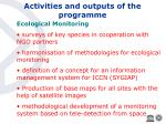 activities and outputs of the programme24