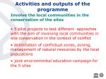 activities and outputs of the programme27
