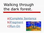 walking through the dark forest