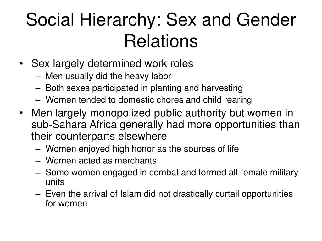 Social Hierarchy: Sex and Gender Relations