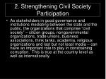 2 strengthening civil society participation