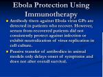 ebola protection using immunotherapy
