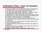 arithmetic time 1 hour 15 minutes