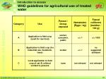 who guidelines for agricultural use of treated water