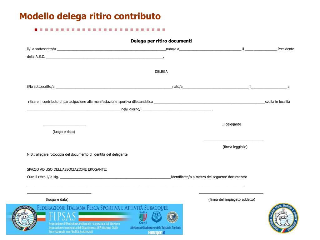 Modello delega ritiro contributo