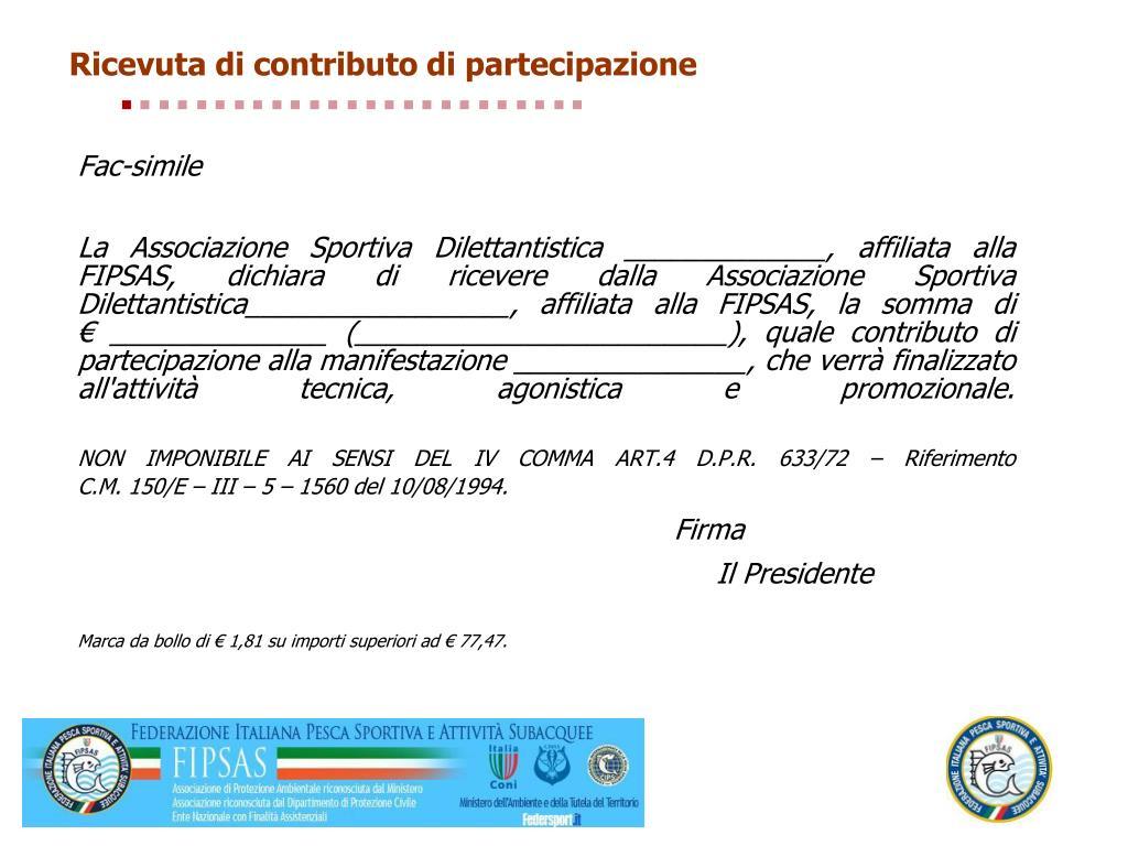 Ricevuta di contributo di partecipazione