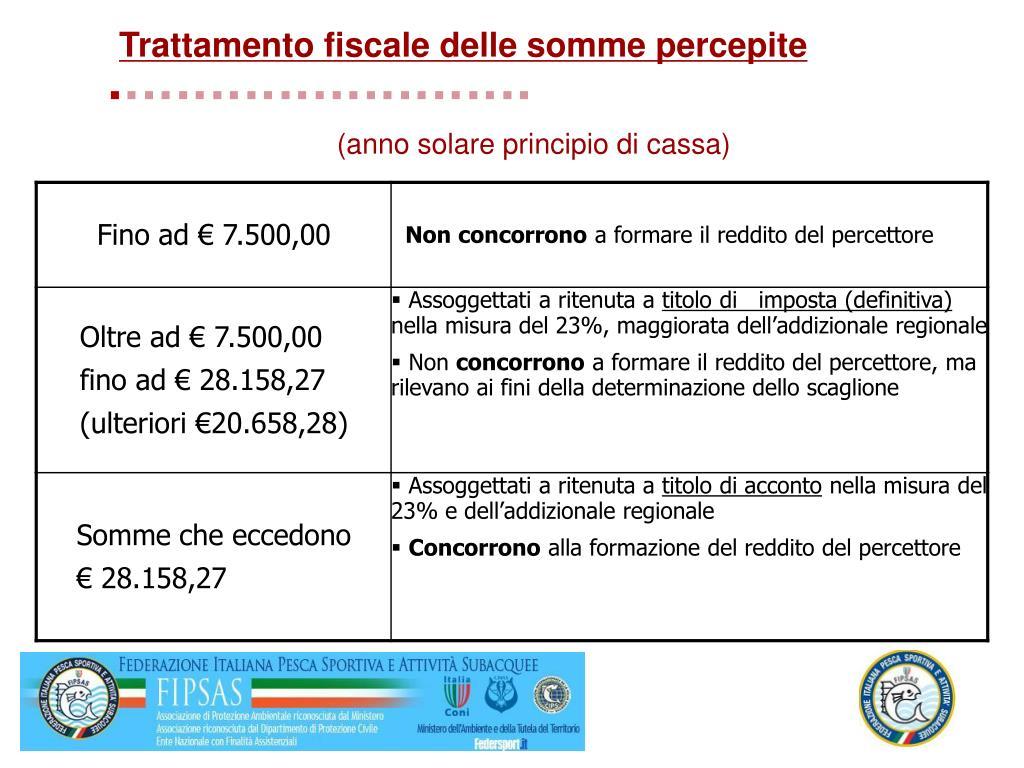 Trattamento fiscale delle somme percepite