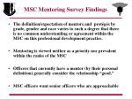 msc mentoring survey findings