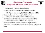 summary comments why msc officers have no mentor