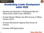 accelerating leader development within woe