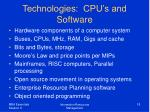 technologies cpu s and software