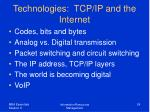 technologies tcp ip and the internet