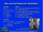 gas lost from desiccant dehydrator