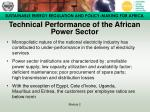 technical performance of the african power sector