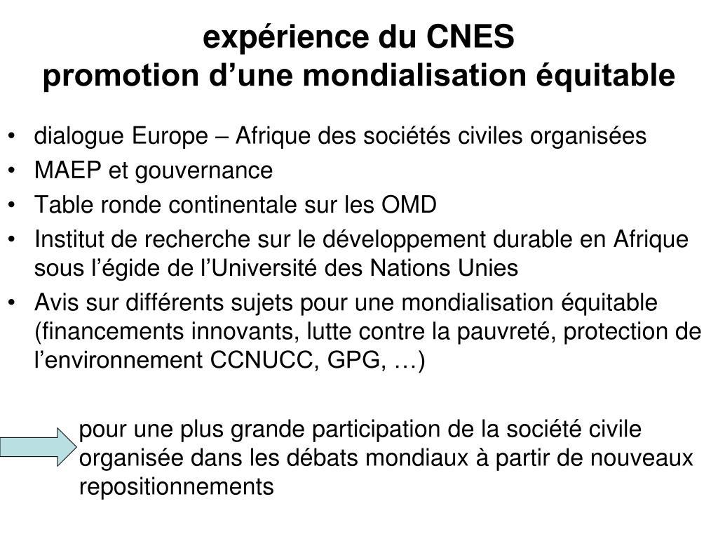 expérience du CNES