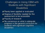 challenges in using cbm with students with significant disabilities
