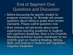 end of segment one questions and discussion