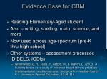evidence base for cbm