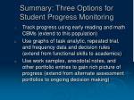 summary three options for student progress monitoring