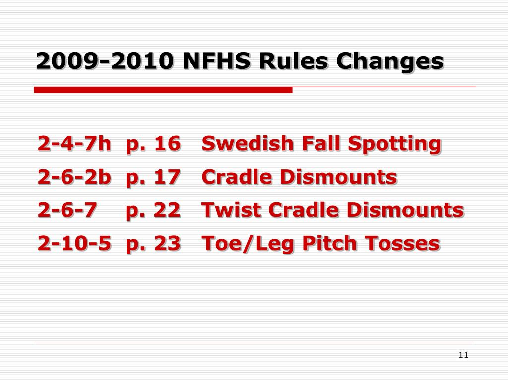 2009-2010 NFHS Rules Changes
