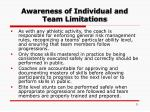 awareness of individual and team limitations