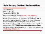 rule interp contact information