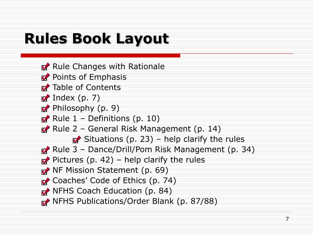 Rules Book Layout