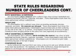 state rules regarding number of cheerleaders cont