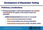 development of dissolution testing