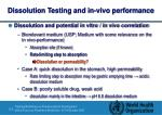 dissolution testing and in vivo performance