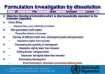 formulation investigation by dissolution